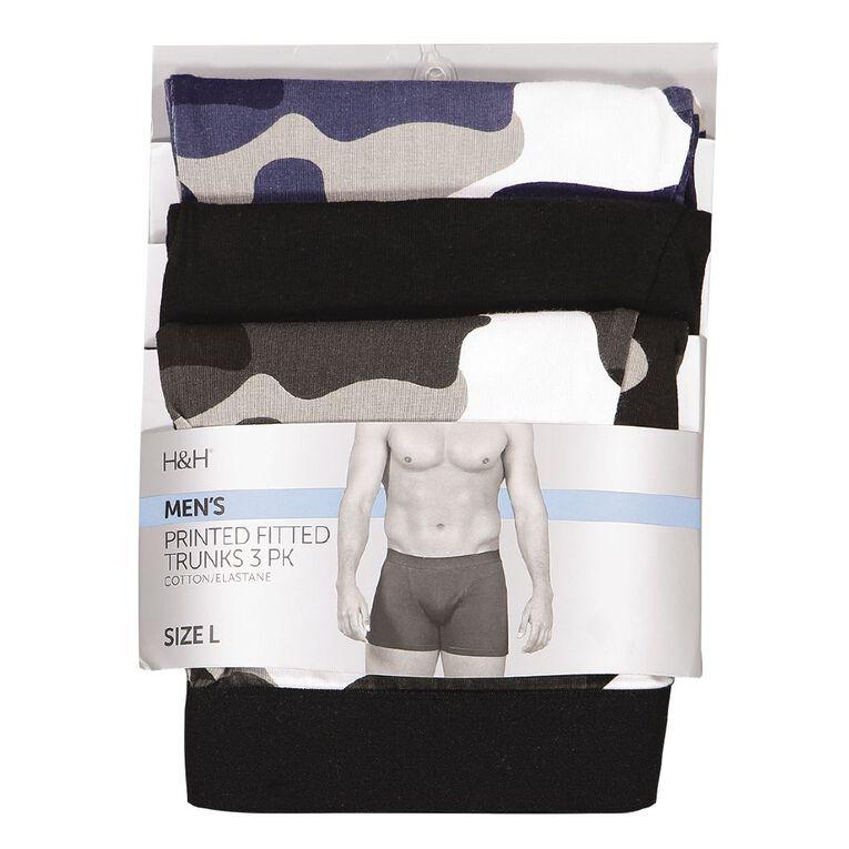 H&H Men's Printed Trunks 3 Pack, Grey, hi-res