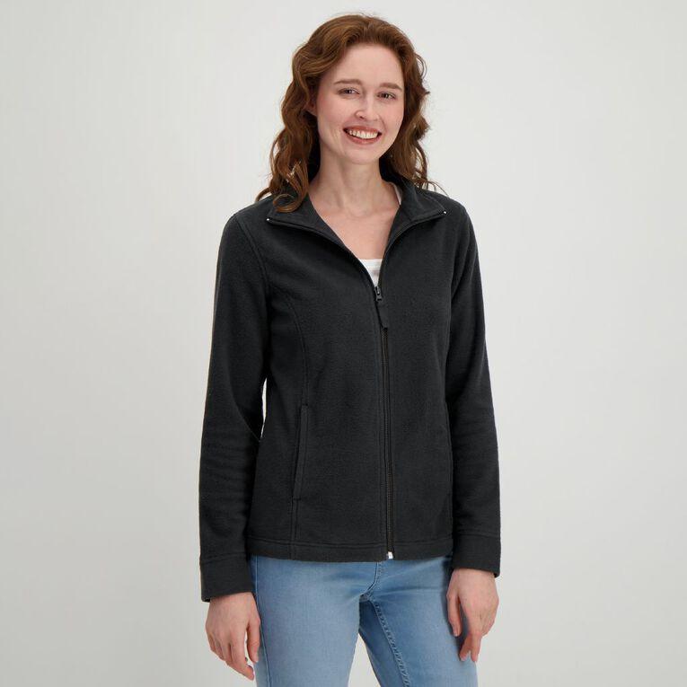 H&H Women's Microfleece Zip Thru Sweat, Black, hi-res