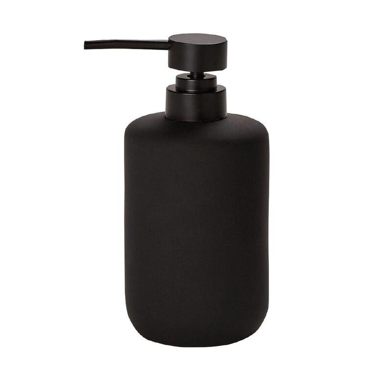 Living & Co Soap Dispenser Ceramic Black 450ml, Black, hi-res