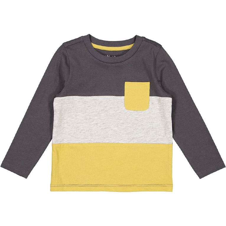 Young Original Toddler Long Sleeve Spliced Tee, Grey Dark, hi-res