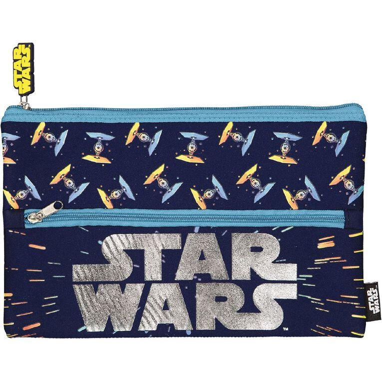 Star Wars Kids Neoprene Flat Pencil Case Navy, , hi-res