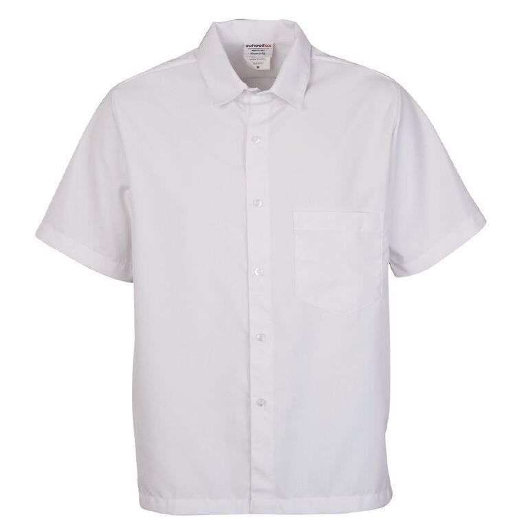 Schooltex Heavyweight Boys' Short Sleeve Shirt, White, hi-res