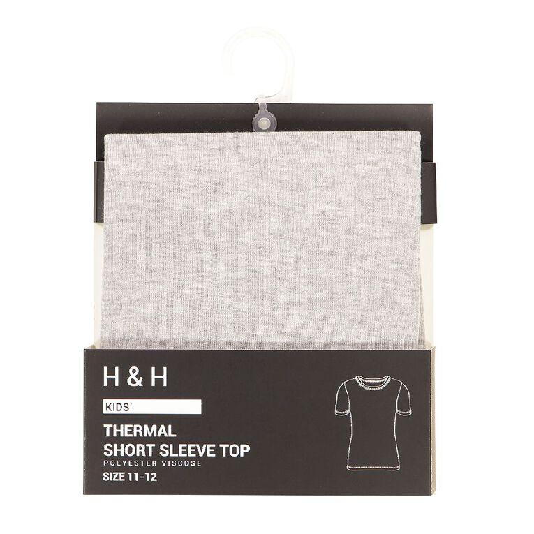 H&H Kids' Polyester Viscose Short Sleeve Thermal Top, Grey, hi-res