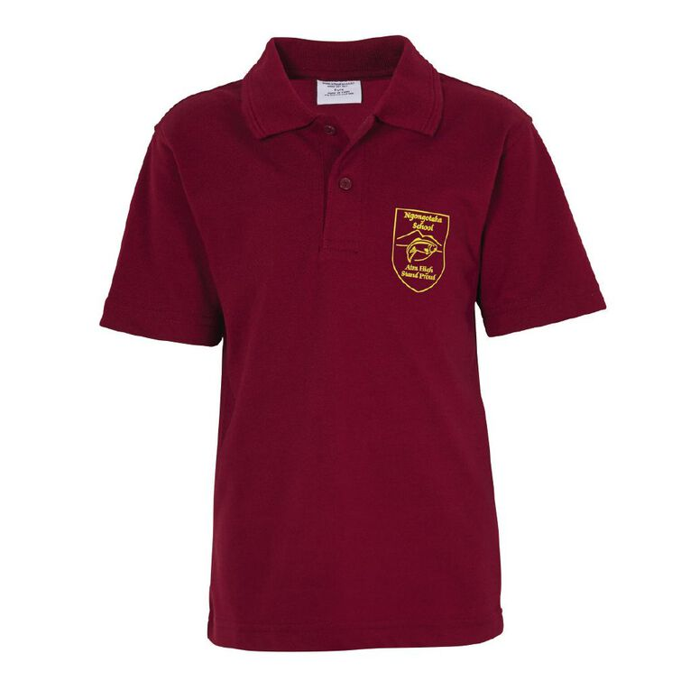 Schooltex Ngongotaha Short Sleeve Polo with Transfer, Burgundy, hi-res