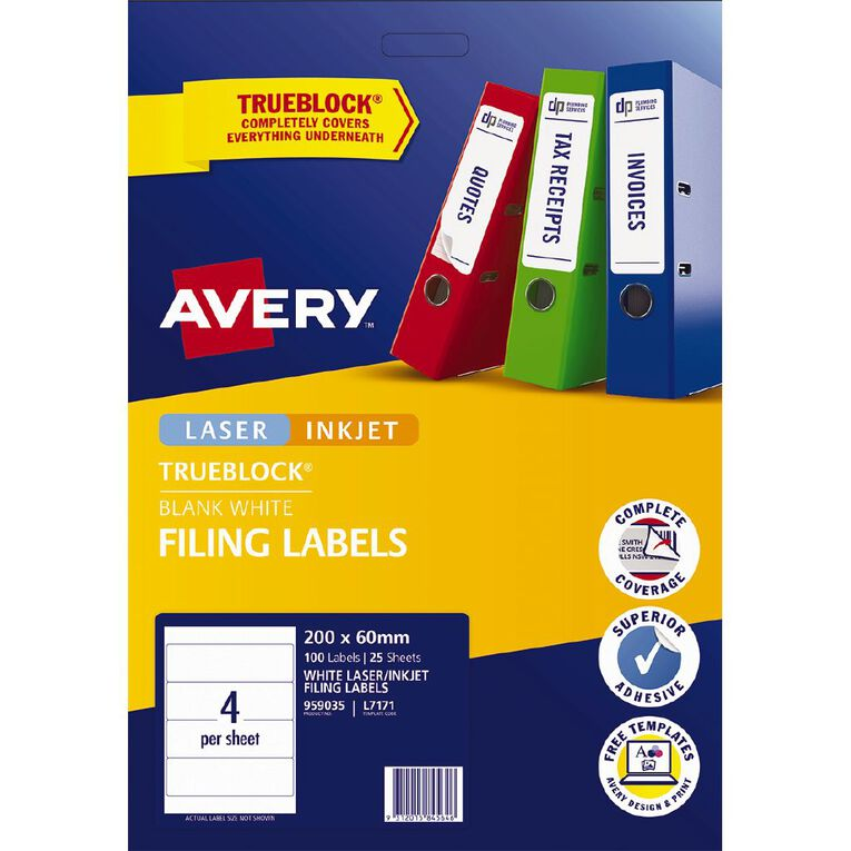 Avery Laser Labels L7171-4 Lever Arch Pack 25, , hi-res