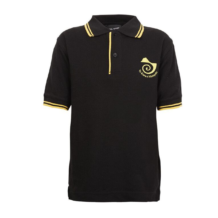 Schooltex Te Kura O Matapihi Polo with Transfer, Black/Gold, hi-res