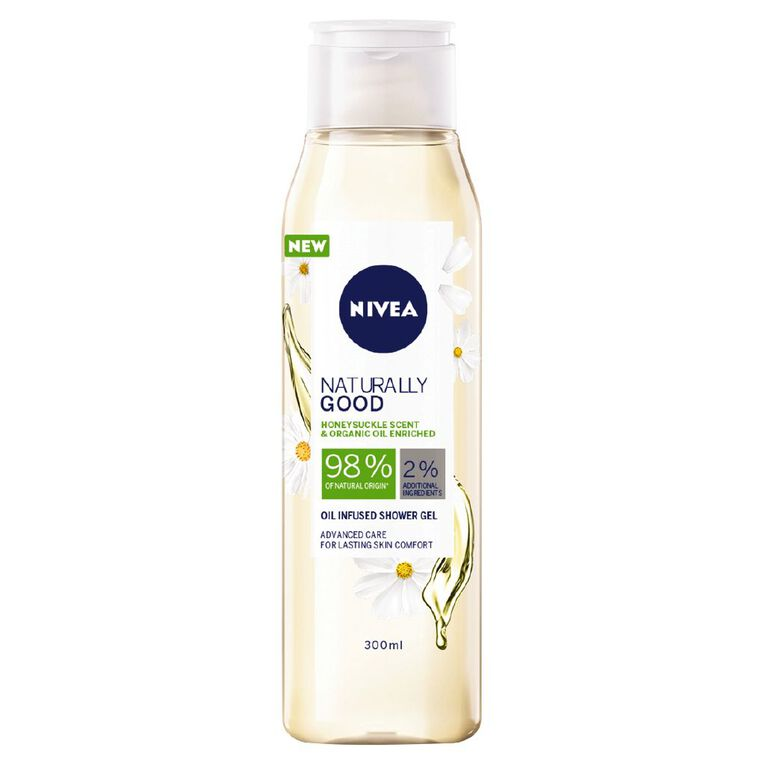 Nivea Shower Gel Naturally Good Honeysuckle And Oil 300ml, , hi-res