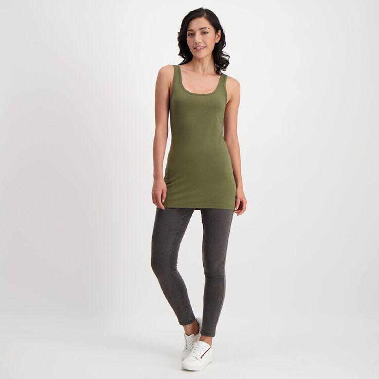 H&H Long Wide Strap Singlet, Green Dark, hi-res