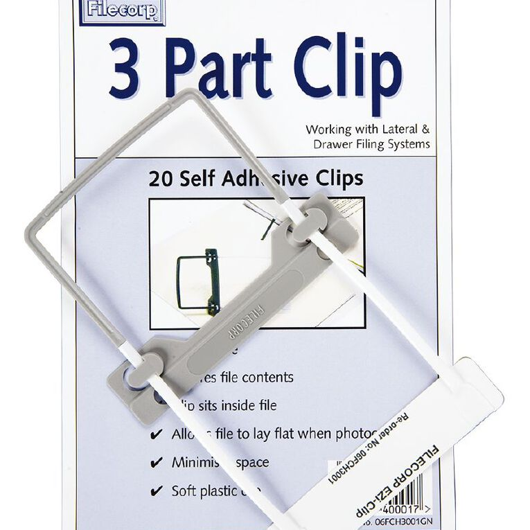 Filecorp 3 Part Clip Self Adhesive 20 Pack White, , hi-res