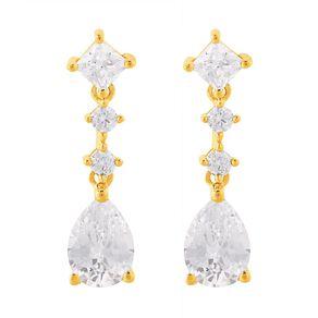 9ct Gold CZ Pear Drop Earrings