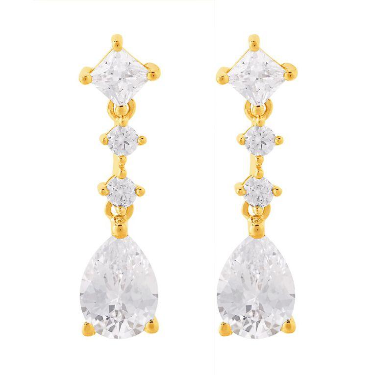 9ct Gold CZ Pear Drop Earrings, , hi-res