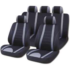 Mako Car Seat Cover Polyester Value Set Low Back 9 Piece Black/Grey