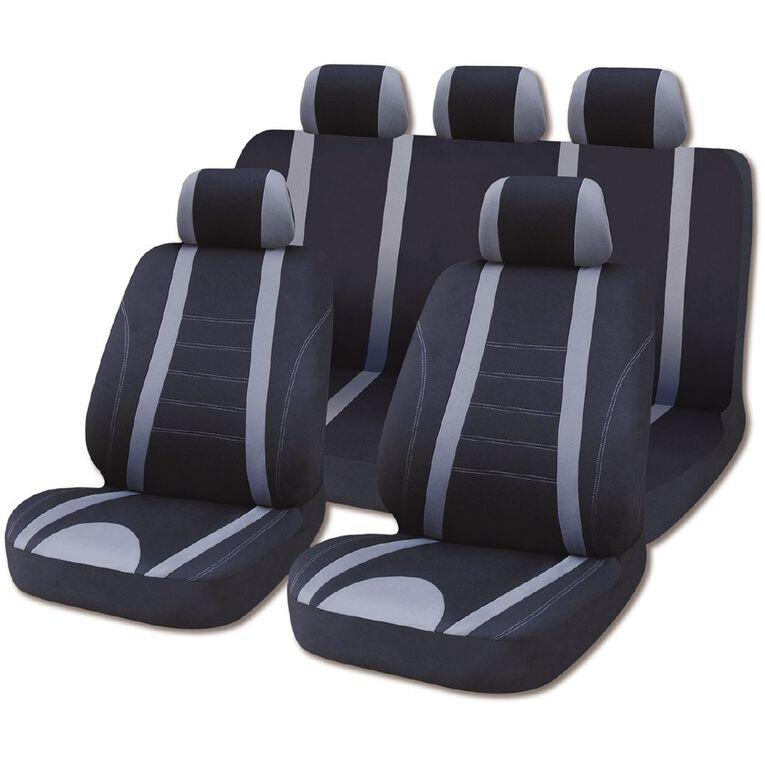 Mako Car Seat Cover Polyester Value Set Low Back 9 Piece Black/Grey, , hi-res