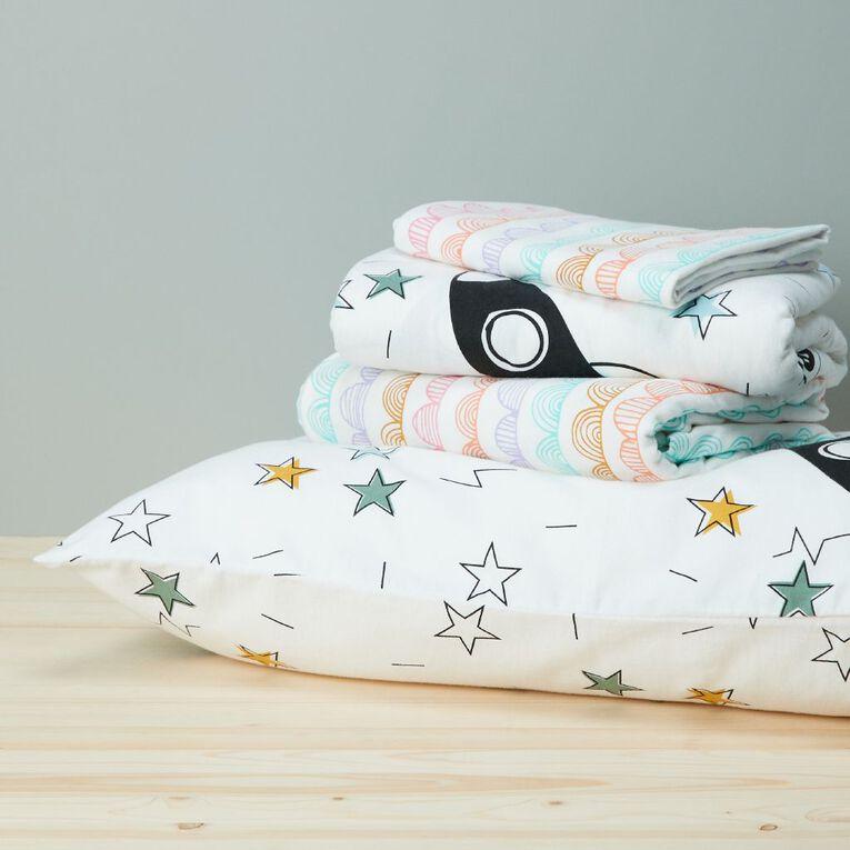Living & Co Kids Sheet Set Cotton Flannel Rocket White King Single, White, hi-res