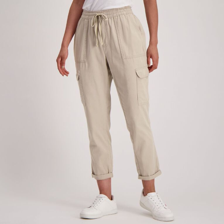 H&H Women's Cuffed Chino Pants, Taupe, hi-res