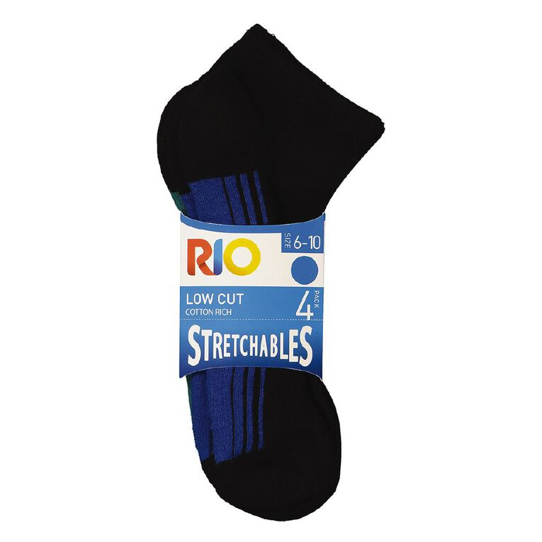 Rio Men's Low Cut Stretchable Socks 4 Pack, Black, hi-res image number null