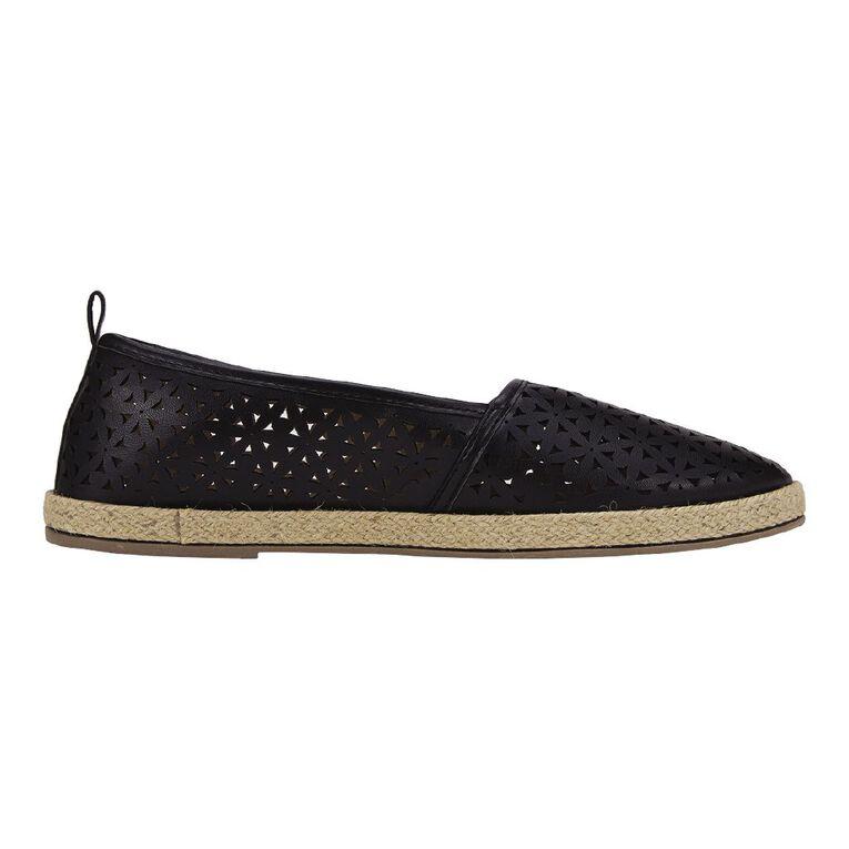 H&H Women's Cutout Espadrille Shoes, Black, hi-res
