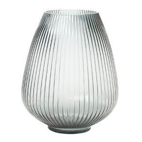 Living & Co Fluted Bulb Glass Vase  24.5 x 30cm Green
