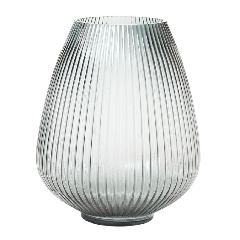 Living & Co Fluted Bulb Glass Vase  24.5 x 30cm Green, , hi-res