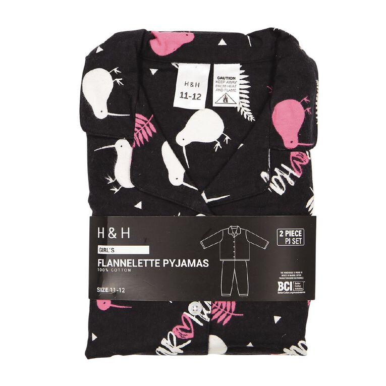 H&H Kids' Flannelette Pyjamas, Black, hi-res image number null