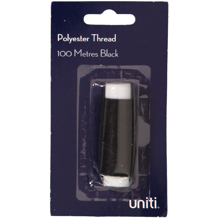 Uniti Polyester Thread Black 100m, , hi-res