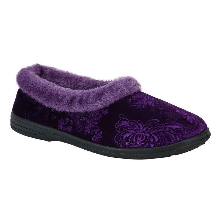 H&H Women's Trim Cuff Comfort Slippers, Purple Dark, hi-res