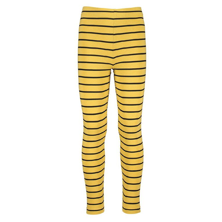 Young Original Girls' Lilly Leggings, Yellow Mid STRIPE, hi-res