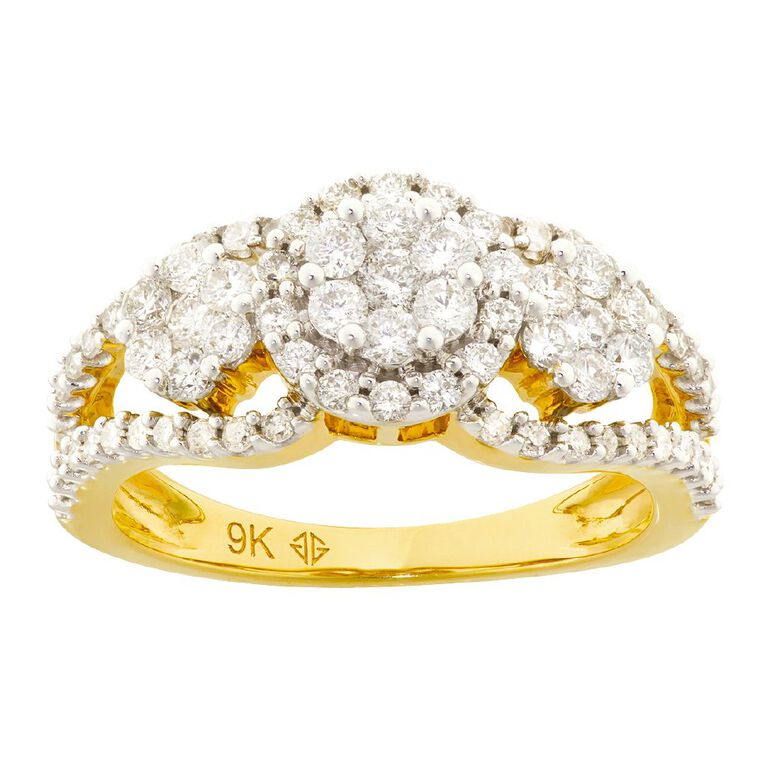 1.00 Carat Diamond 9ct Gold Dress Ring, Yellow Gold, hi-res