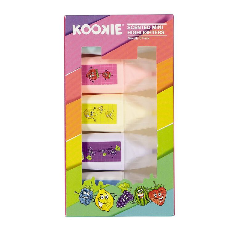 Kookie Novelty Highlighters Mini Scented 5 Pack Multi-Coloured, , hi-res