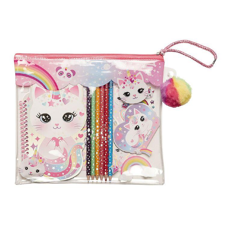 Hot Focus Colour-me Notebook Set Kitty, , hi-res