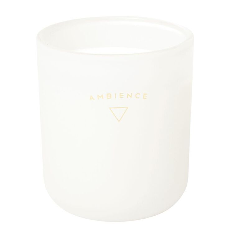 Living & Co Ambience Jar Candle Vanilla Oak White 13oz, White, hi-res