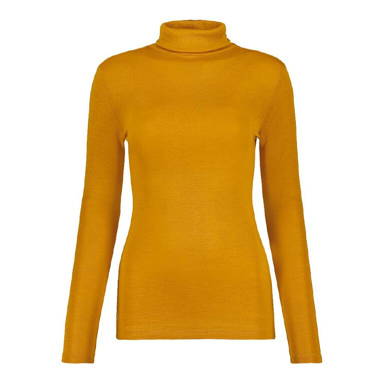 H&H Women's Merino Roll Neck, Yellow Mid, hi-res