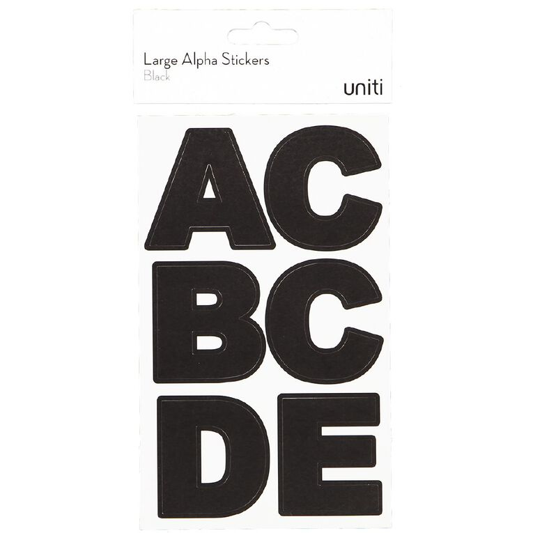 Uniti Alphabet Stickers Extra Large Black, , hi-res