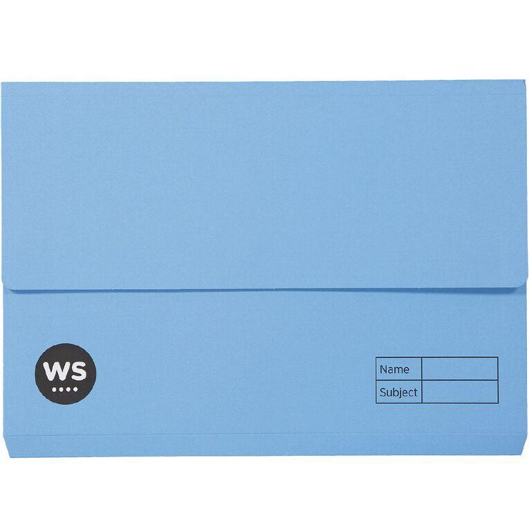 WS Manilla Document Wallet Foolscap Blue, , hi-res
