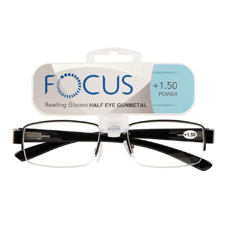 Focus Reading Glasses Half Eye Gunmetal 1.50, , hi-res