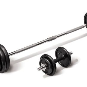 Active Intent Fitness Cast Iron Barbell/Dumbbell Set in Case 50kg