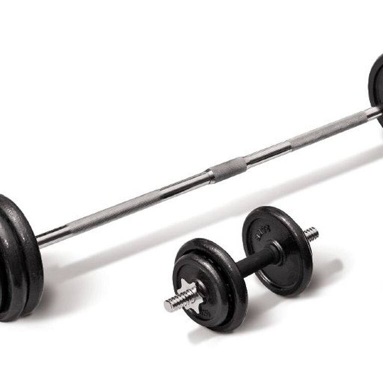Active Intent Fitness Cast Iron Barbell/Dumbbell Set in Case 50kg, , hi-res