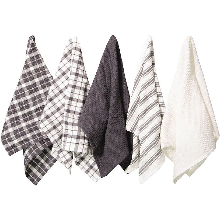 Living & Co Tea Towel Mix Set 5 Pack Charcoal 40cm x 65cm, , hi-res