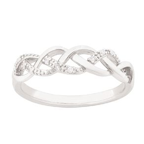 Sterling Silver Diamond Crossover Weave Ring