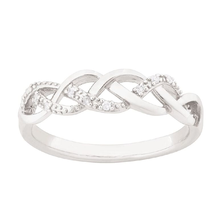 Sterling Silver Diamond Crossover Weave Ring, Sterling Silver, hi-res