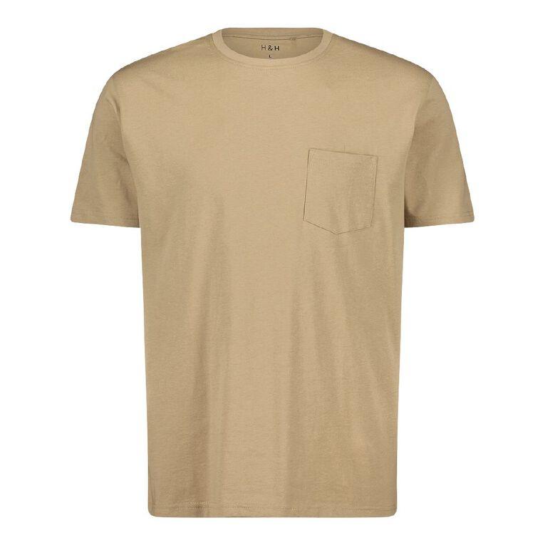H&H Crew Neck Short Sleeve Pocket Tee, Beige, hi-res