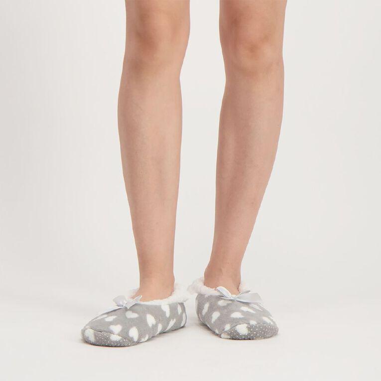 H&H Printed Footlet Slippers, Grey, hi-res