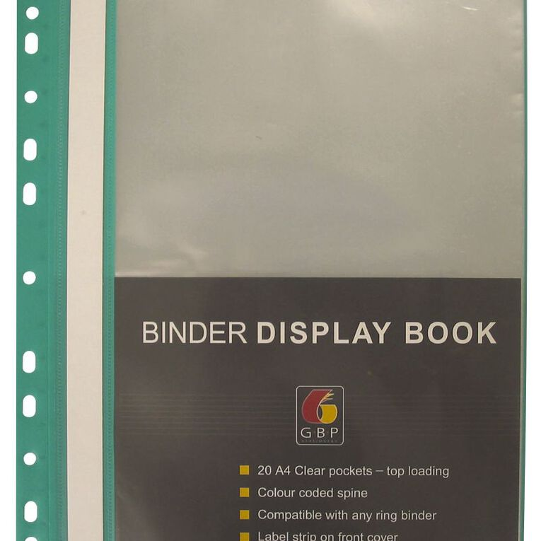 Office Supply Co Binder Display Book 20 Pocket Green A4, , hi-res image number null
