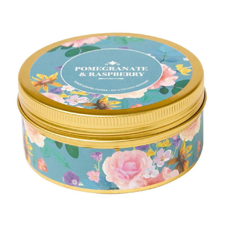 Living & Co Printed Tin Candle Pomegranate and Raspberry Green 7oz, Green, hi-res