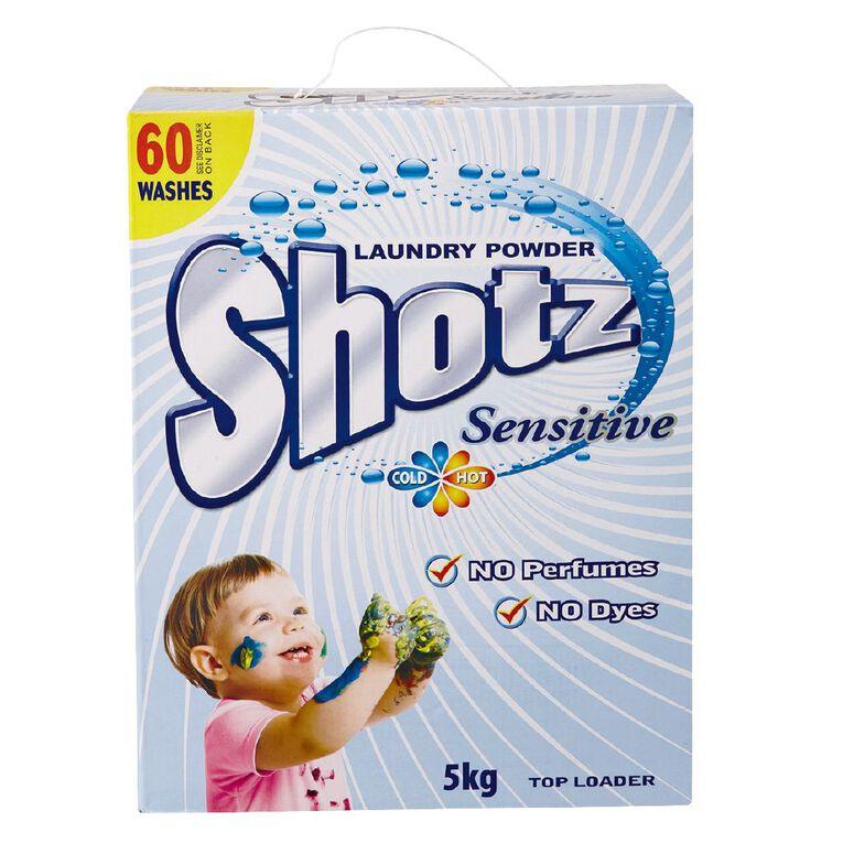 Shotz Sensitive Laundry Powder Top Loader 5kg, , hi-res