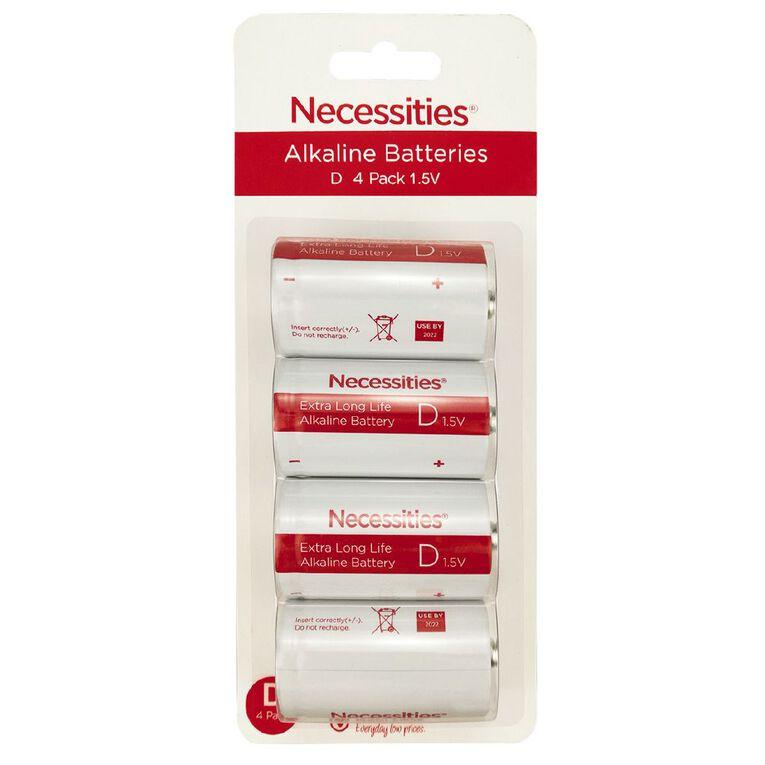 Necessities Brand D LR20 Alkaline 4 Pack, , hi-res