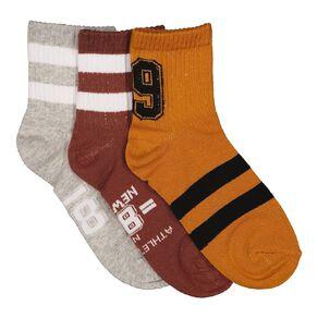 H&H Boys' Quarter Crew Socks 3 Pack
