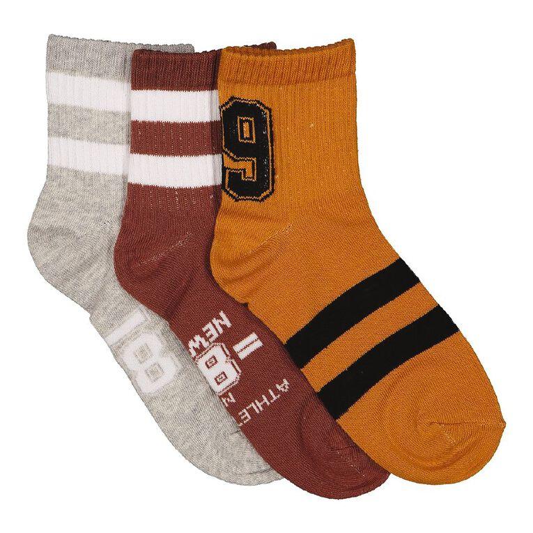 H&H Boys' Quarter Crew Socks 3 Pack, Brown, hi-res