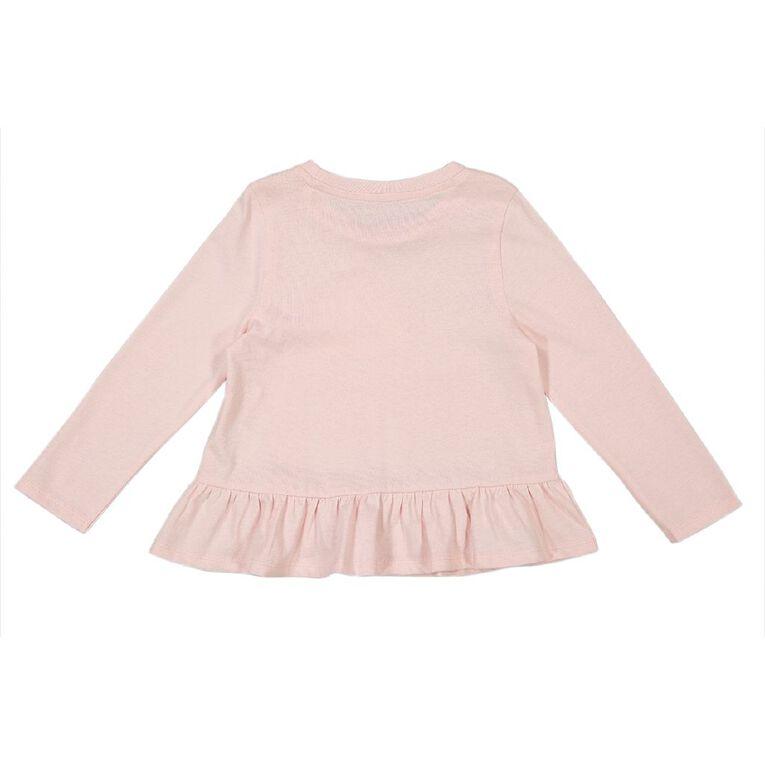 Young Original Toddler Long Sleeve Peplum Tee, Pink Light, hi-res