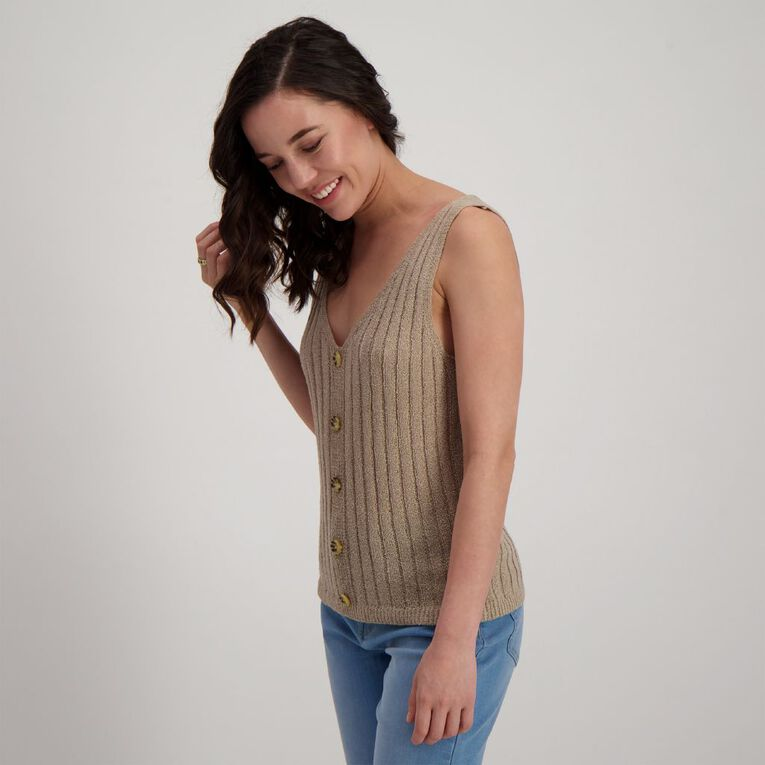 H&H Women's Sleeveless Button Tank, Brown Light, hi-res image number null